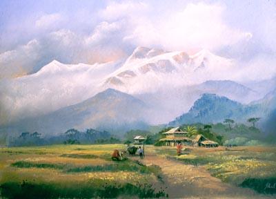 Annapurna, pastel by Jenny Keal