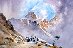Everest, watercolour by David Bellamy