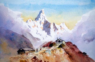 Ama Dablam from Mon La, watercolour by David Bellamy