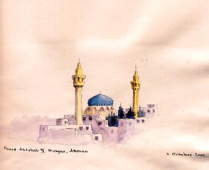 Prince Abdullah II Mosque in Amman, sketch by Jenny Keal