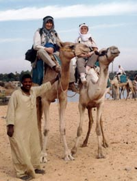 David and Jenny camel trekking in Aswan