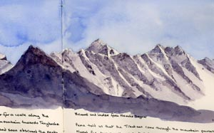 sketch of Everest from Jenny's journal showing the frozen washes