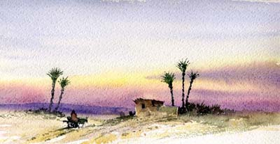Farafara, watercolour by David Bellamy