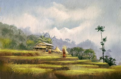 Himalayan Farm, pastel by Jenny Keal