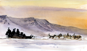 Hurrying along Hurry Fjord, sketch by David Bellamy