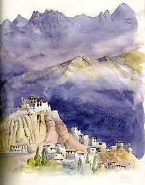 Lamayuru. sketch by Jenny Keal