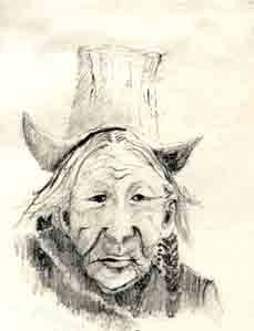 Old woman in Leh, sketch by Jenny Keal