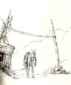 Prayer Flags on Sarmanchan La, sketch by David Bellam