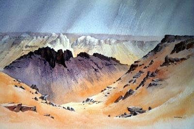 'Top of the Gilf Kebir' watercolour by David Bellamy